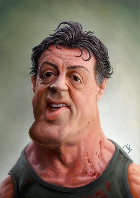Карикатура на Сильвестра Сталлоне
