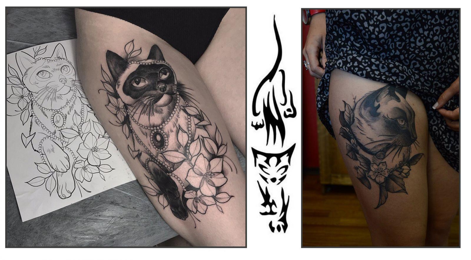 Варианты татуировок кошек на бёдрах девушек