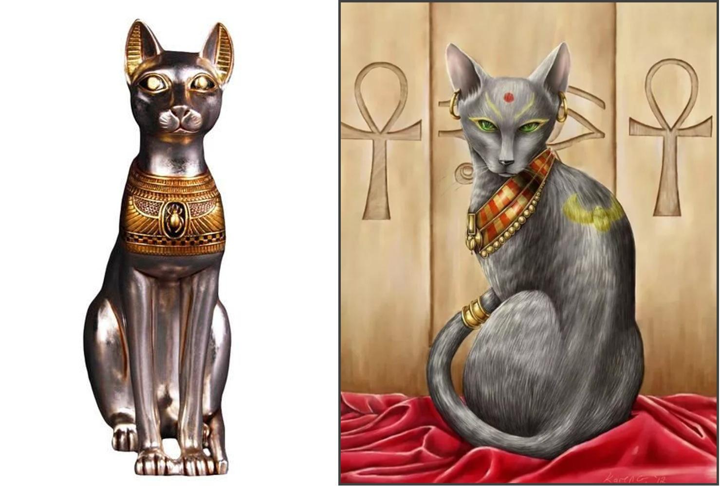 Статуэтка кошки и эскиз для тату в египетском стиле