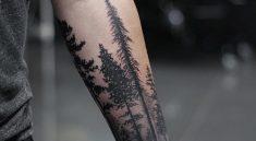 Тату лес на руке