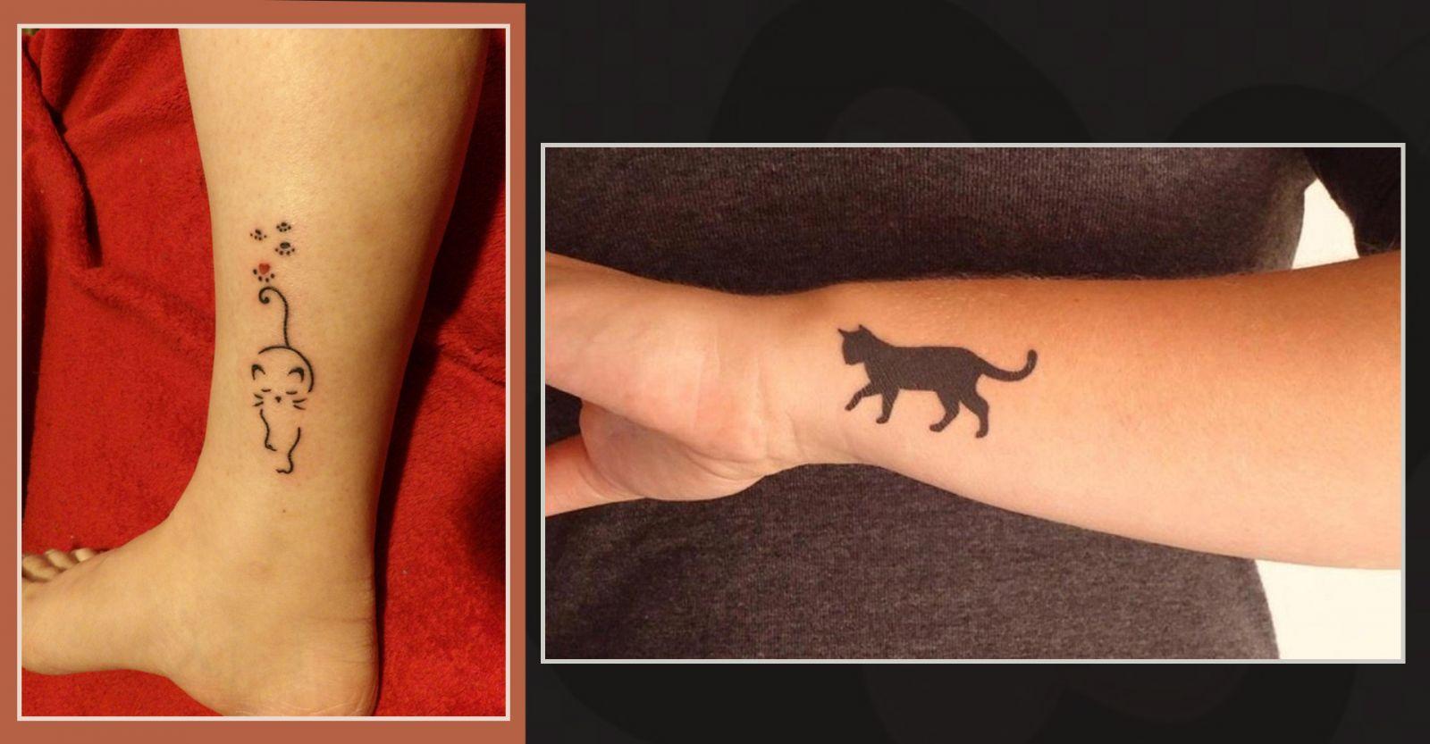 Татуировки кошек на щиколотке и запястье девушек