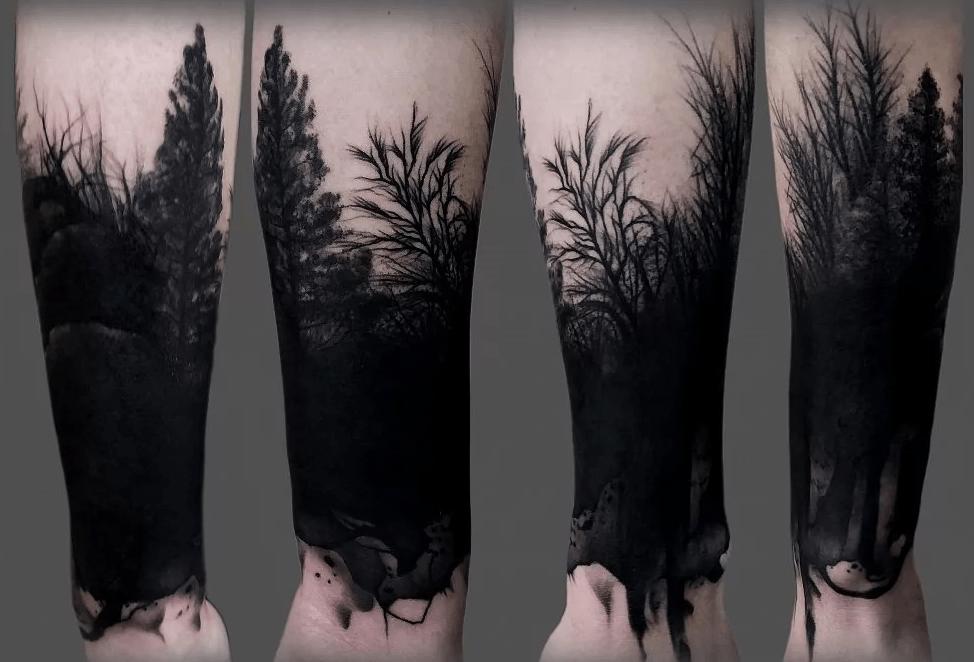 Лес в стиле блэкворк