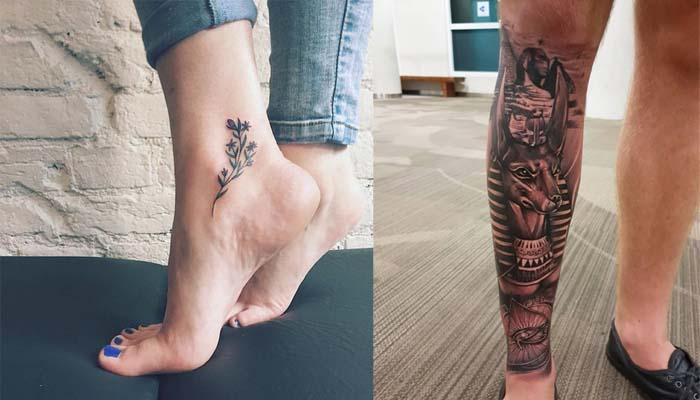 Татуировка на щиколотке и голени