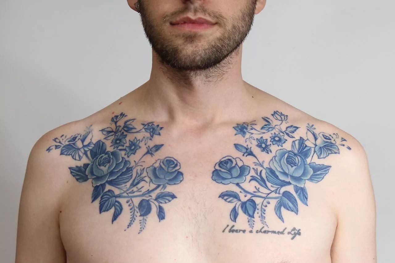 тату цветы у мужчины