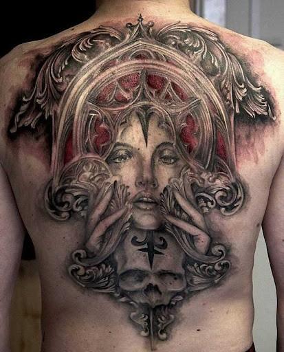 татуировка на всю спину с девушкой на мужской спине