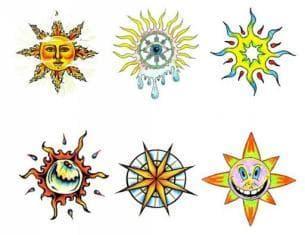 эскизы для маленьких  тату солнце