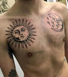 тату солнца и луны