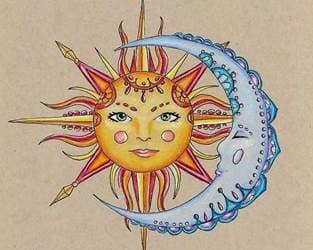 эскиз тату солнце в стиле абстракции