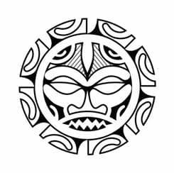 эскиз тату солнце в стиле полинезия