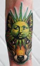 тату цветное солнце