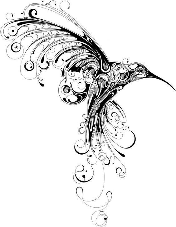 эскиз колибри тату