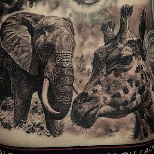 татуировки Слон и жираф