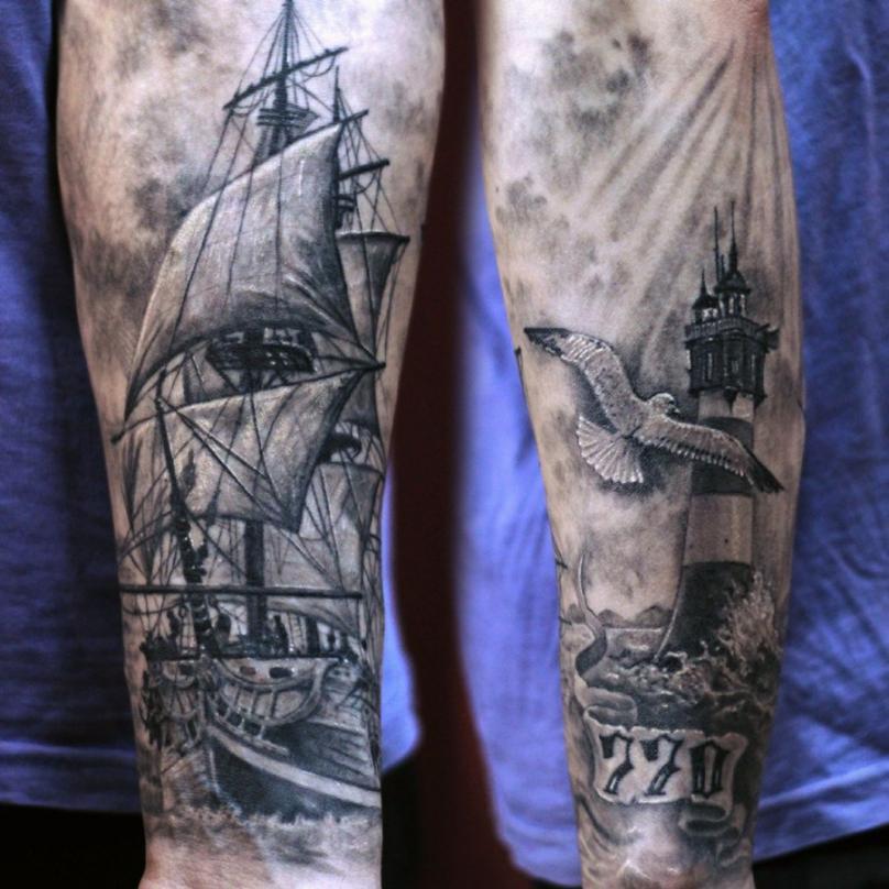 Морская тематика в татуировке