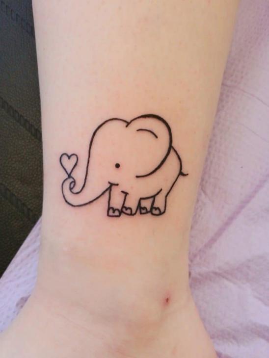Идея татуировки слона на щиколотке