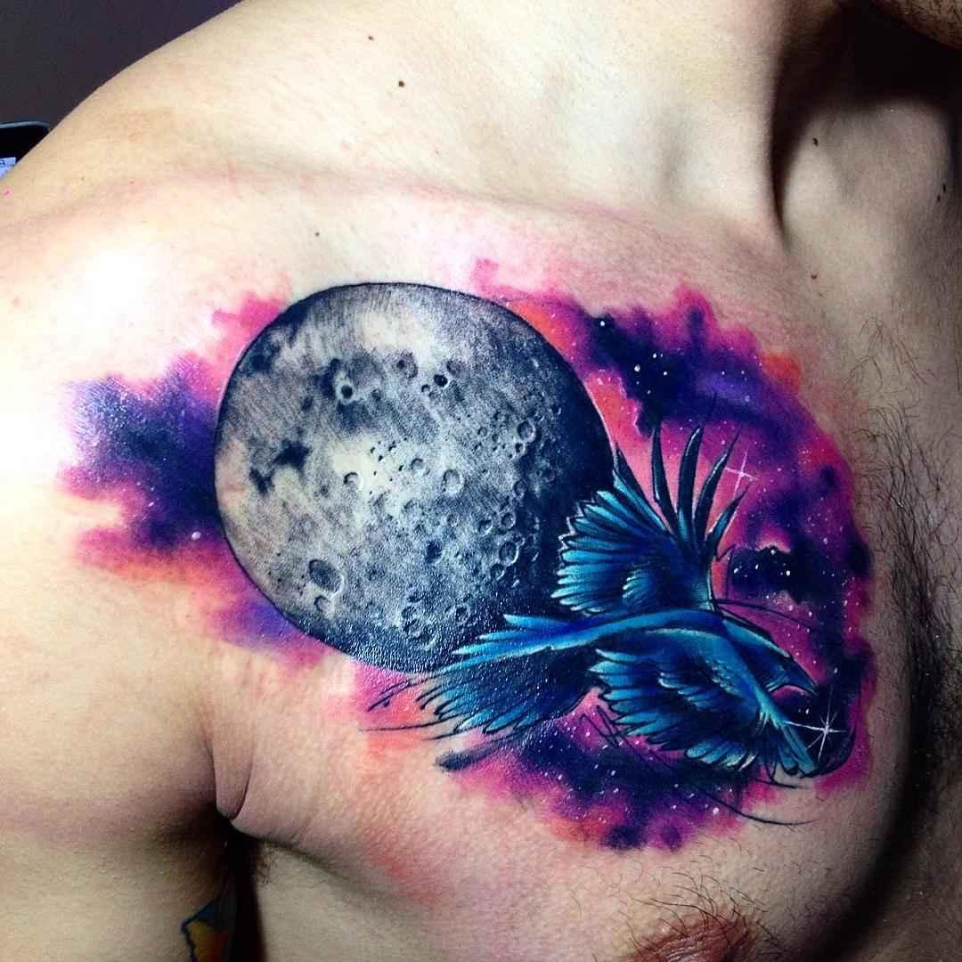 Луна в космосе тату