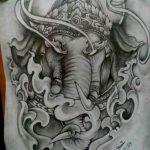 тату слон черно белый эскиз