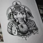 тату слон дотворк эскиз