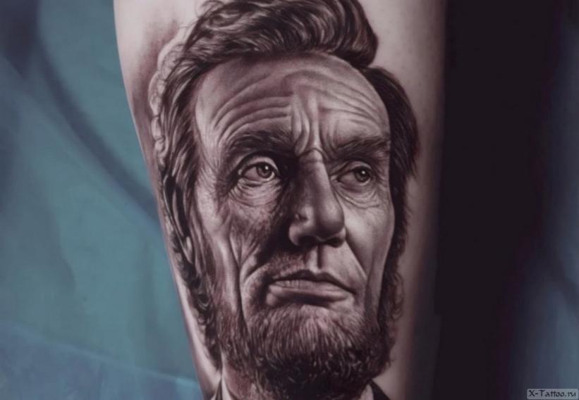 Тату в стиле реализм Авраам Линкольн (президент США)