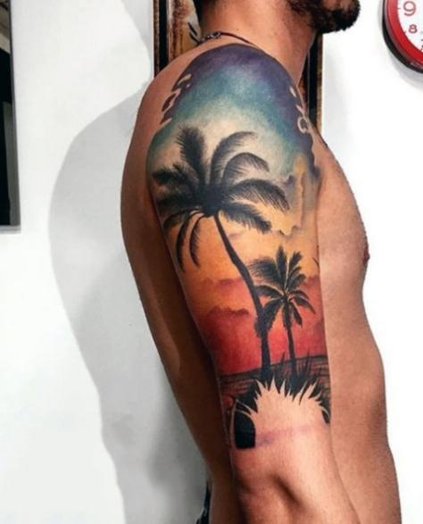 Татуировка в виде пальмы у мужчин