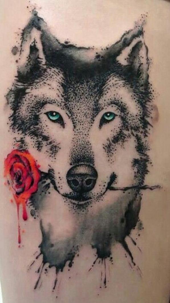 Татуировка волк с розой