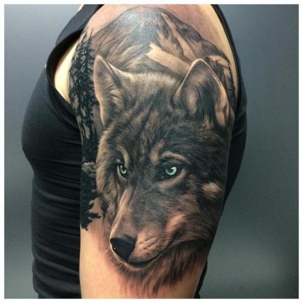 Волк на плече у мужчины