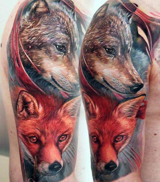 Тату волка с лисой