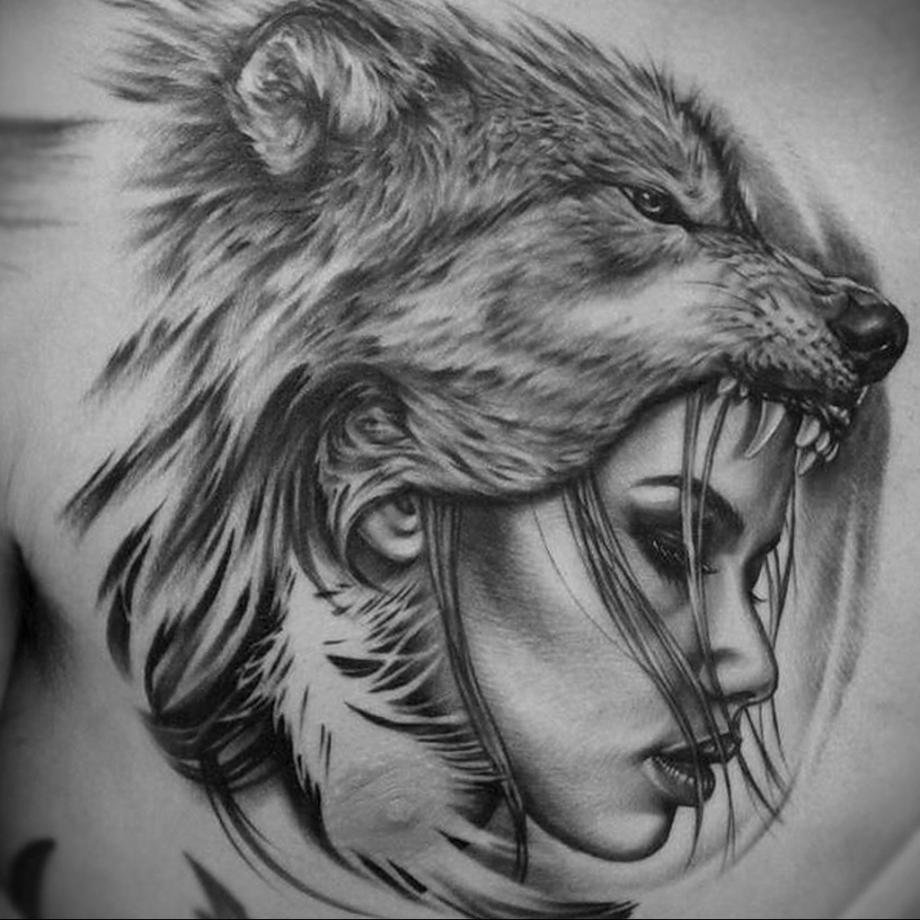Татуировка хищника и девушки